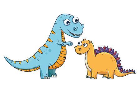 cute tyrannosaurus and diplodocus characters vector illustration design Stock Illustratie