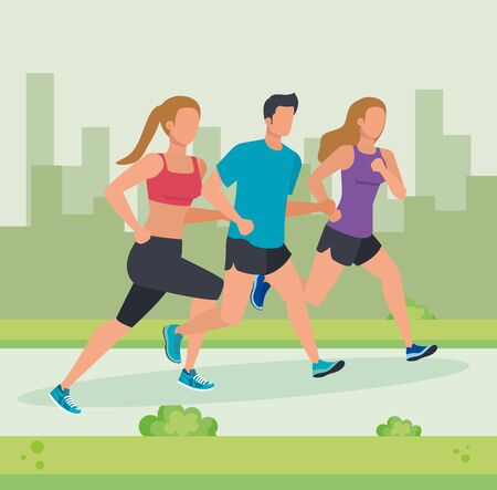 women and man running activity and practice sport with bushes plants, vector illustration Stock Illustratie