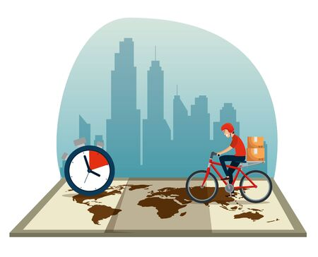 delivery man with bicycle and boxes in the global map to distribution service vecctor illustration