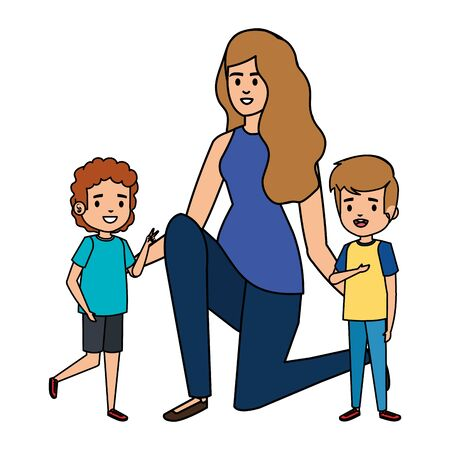 happy students boys with female teacher teacher vector illustration design