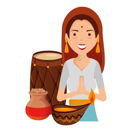 beautiful woman from india with cultural items vector illustration design Çizim