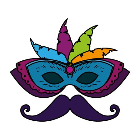 carnival mask with feathers and mustache vector illustration design Stock Illustratie