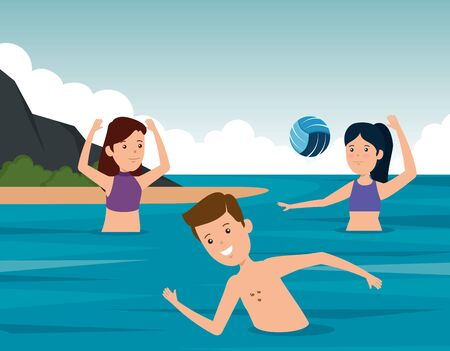 boy swimming and girls playing volleyball in the water to summer sport vector illustration Illustration