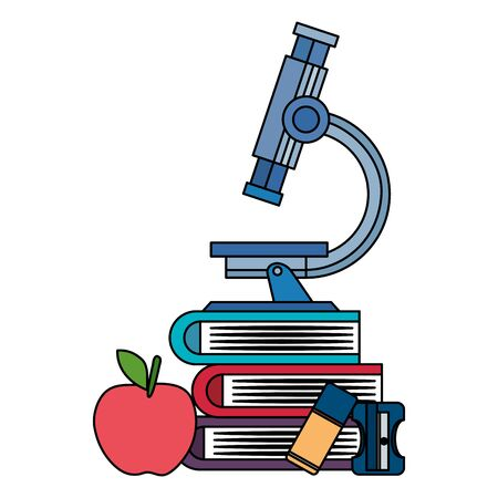 pile textbooks with microscope and supplies vector illustration design