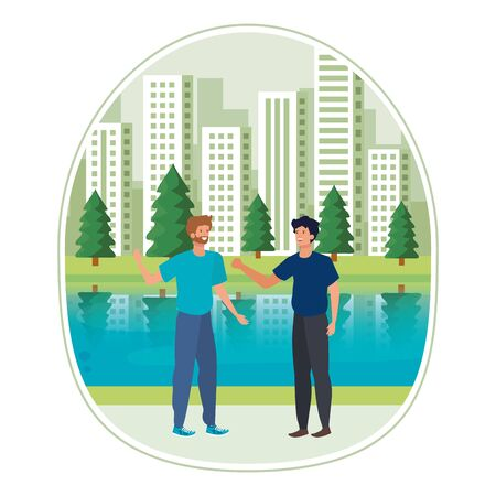 young men friends in the landscape vector illustration design
