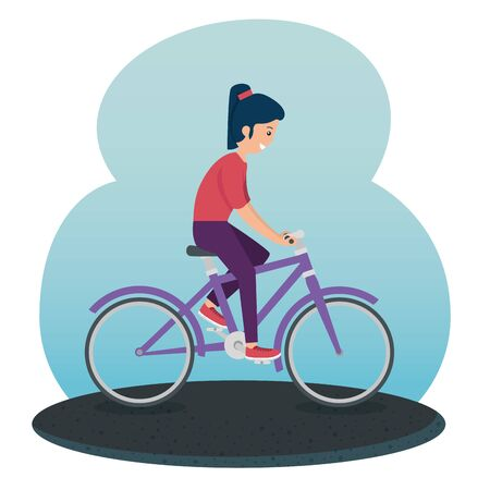 girl practice cycling exercise activity to summer activity vector illustration