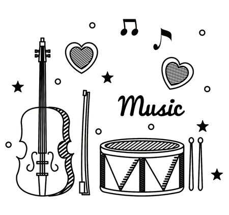 violin and drum with quaver and beam notes to music melody vector illustration Фото со стока - 129861282