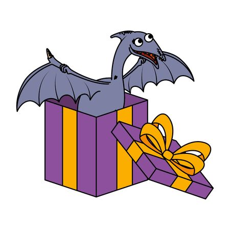 cute Pterodactyl in giftbox present vector illustration design Stockfoto - 129862236