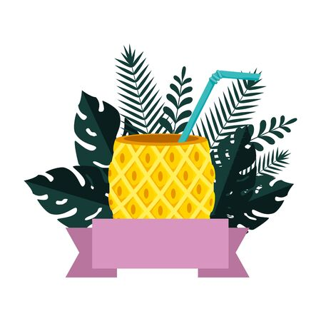 summer frame with tropical pineapple cocktail and leafs plants vector illustration Ilustrace