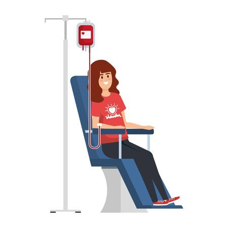 young woman volunteer in donation chair vector illustration design 写真素材 - 129862845