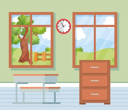 academic classroom with desk and clock between windows to school education