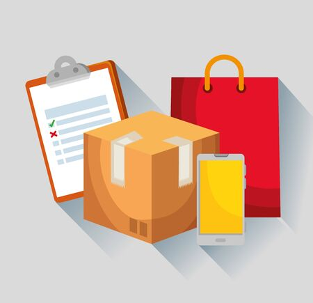 check list with box package and smartphone with bag to delivery service vector illustration