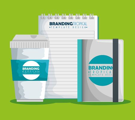 plastic coffee cup with notebooks product vector illustration Иллюстрация
