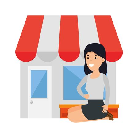 young woman in lotus position with store building vector illustration design 写真素材 - 129862864