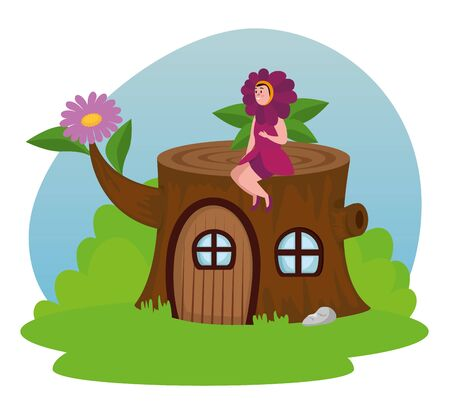 flower fairy sitting in the trunk tree house to tale character, vector illustration