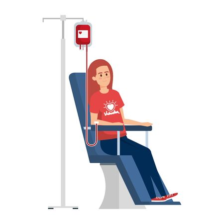 young woman volunteer in donation chair vector illustration design 写真素材 - 129863252