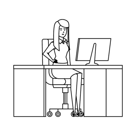 elegant businesswoman in the workplace vector illustration design 写真素材 - 129863256