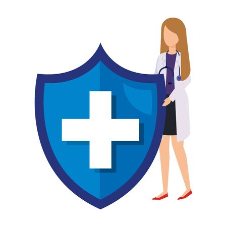female doctor with stethoscope and medical shield vector illustration design