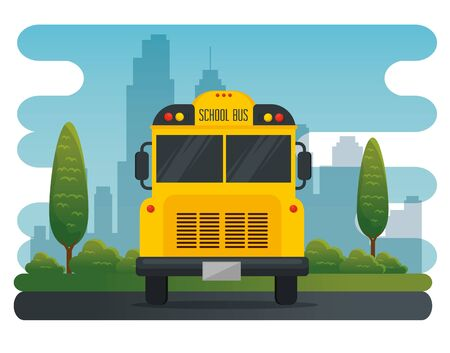 school bus vehicle transportation to education with trees and bushes plants vector illustration Çizim