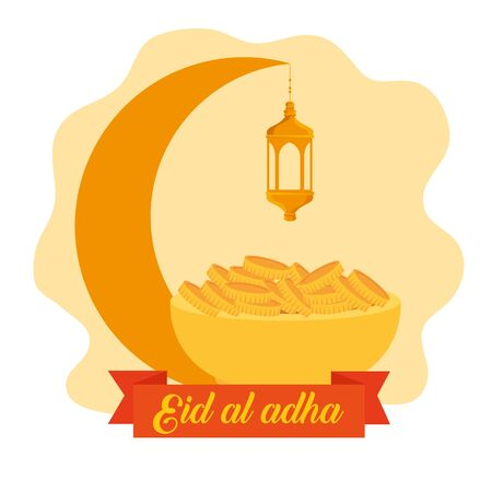 moon with lamp hanging and gold coins with ribbon to eid al adha celebration, vector illustration