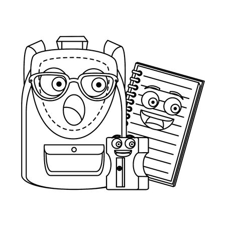 schoolbag with notebook and sharpener  characters vector illustration design Ilustrace