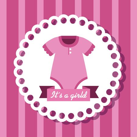 label of little girl pijama with ribbon over pink background vector illustration Çizim