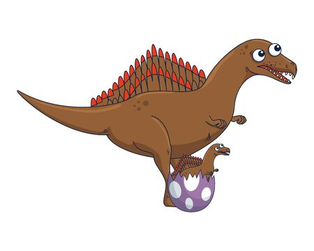 mother spinosaurus with baby breaking the shell egg vector illustration Stockfoto - 129863298