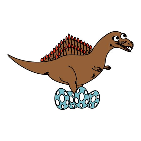 mother spinosaurus care of their eggs comic character vector illustration Stockfoto - 129863534