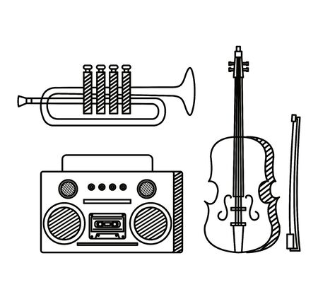 set of violin with trumpet instrument and radio over white background vector illustration Иллюстрация