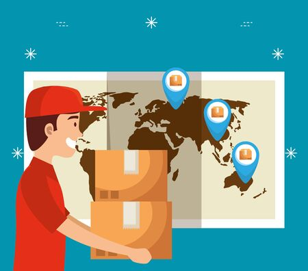man with boxes packages and global map with location signs to delivery service vector illustration Illustration