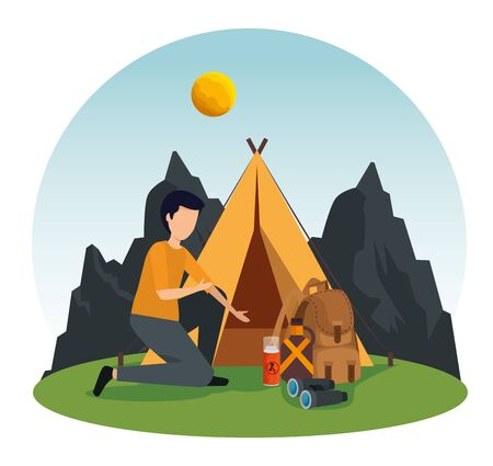 man with camp and backpack in the nature mountains to nature adventure vector illustration