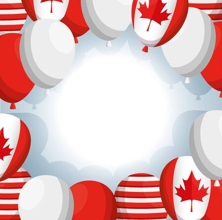 balloons helium with canadian flag vector illustration design