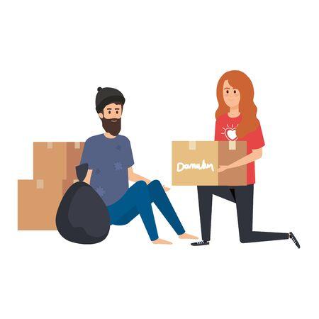 woman volunteer giving a homeless man donations box vector illustration design