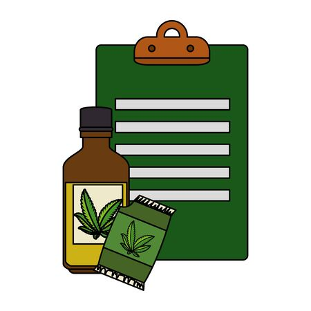 cannabis seeds bag with bottle and checklist vector illustration design