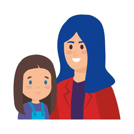young mother with little daughter vector illustration design Standard-Bild - 129782529