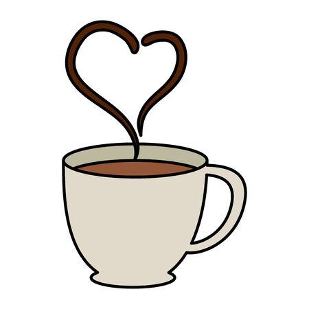 tasse à café avec conception d & # 39; illustration vectorielle coeur