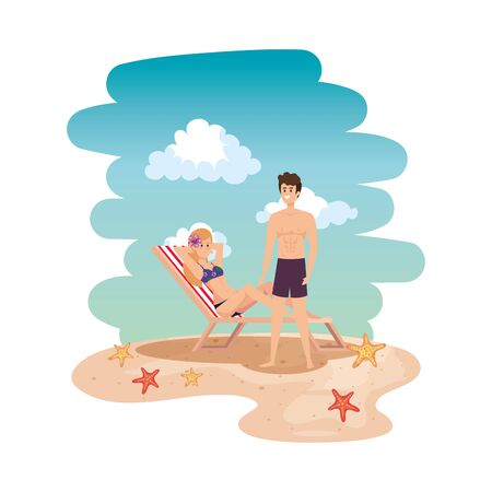 young couple relaxing in beach chair on the seascape vector illustration design