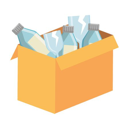 box carton with glass bottles vector illustration design