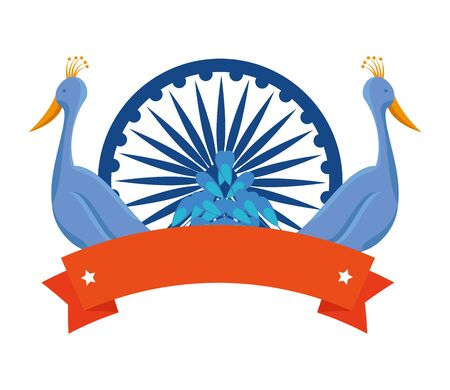 ashoka chakra indian with peacocks birds vector illustration design 스톡 콘텐츠 - 129782576