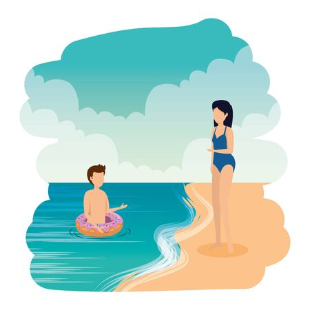 young couple with floats on the beach vector illustration design
