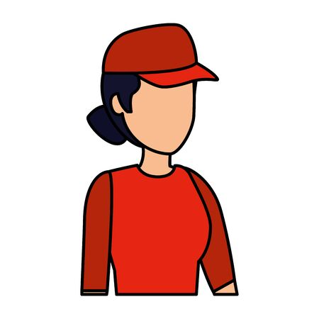 female delivery worker avatar character vector illustration design