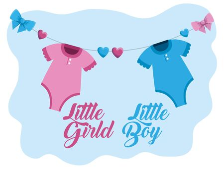little girl and boy pijamas with hearts and ribbon bows to baby shower vector illustration