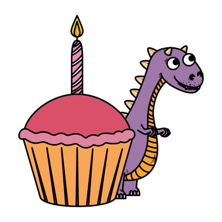 cute tyrannosaurus rex with sweet cupcake vector illustration design Stockfoto - 129864582