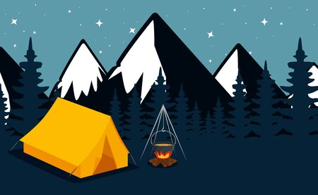 nature snowy mountains with pines trees and camp to summer adventure vector illustration 写真素材 - 129864589