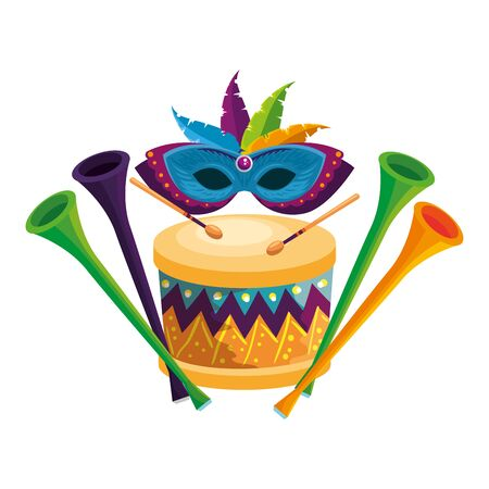 carnival mask with feathers and instruments musical vector illustration design