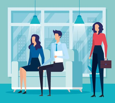 businesswomen and businessman teamwork with documents and suitcase in the office, vector illustration