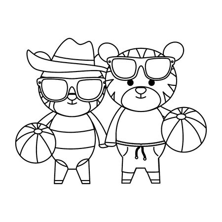tigers couple with summer hat and balloons plastic toys vector illustration design