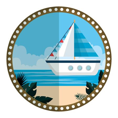 circular frame with summer beach and sailboat vector illustration design Stockfoto - 129878932