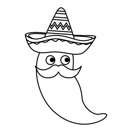 chili pepper with mexican hat and mustache character vector illustration design