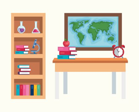 set of bookcase with education elementary and global map to back to school vector illustration Çizim